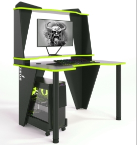 Стол геймерский ZEUS IVAR-2 черный/лайм