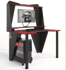 Стол геймерский ZEUS IVAR-2 красный/черный