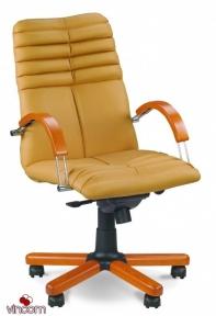Кресло Новый Стиль GALAXY wood chrome LB (Кожа Сплит SP-A)