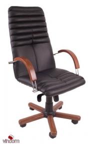 Кресло Новый Стиль GALAXY wood chrome (Кожа Люкс LE)