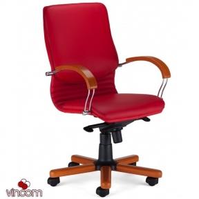 Кресло Новый Стиль NOVA wood LB chrome (Экокожа)