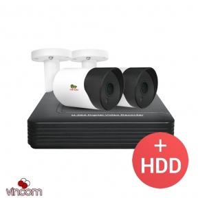 Комплект видеонаблюдения Partizan AHD-14 2xCAM + 1xDVR + HDD