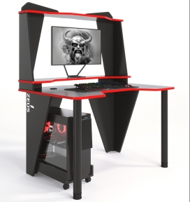 Стол геймерский ZEUS IVAR-2 черный/красный