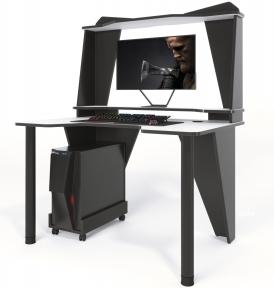 Стол геймерский ZEUS IVAR-3 альпийский/черный